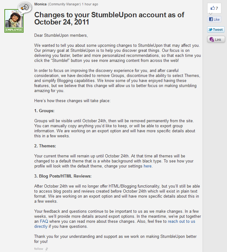 changes to your stumbleupon account The Fall of StumbleUpon? Photoblogging Phased Out, Stumblers Migrate to Tumblr